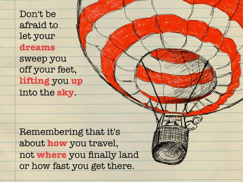 Don't be afraid to to let your dreams sweep you of your feet, carrying you up into the sky. Remembering that it's about how your travel, not where you finally land or how fast you get there.