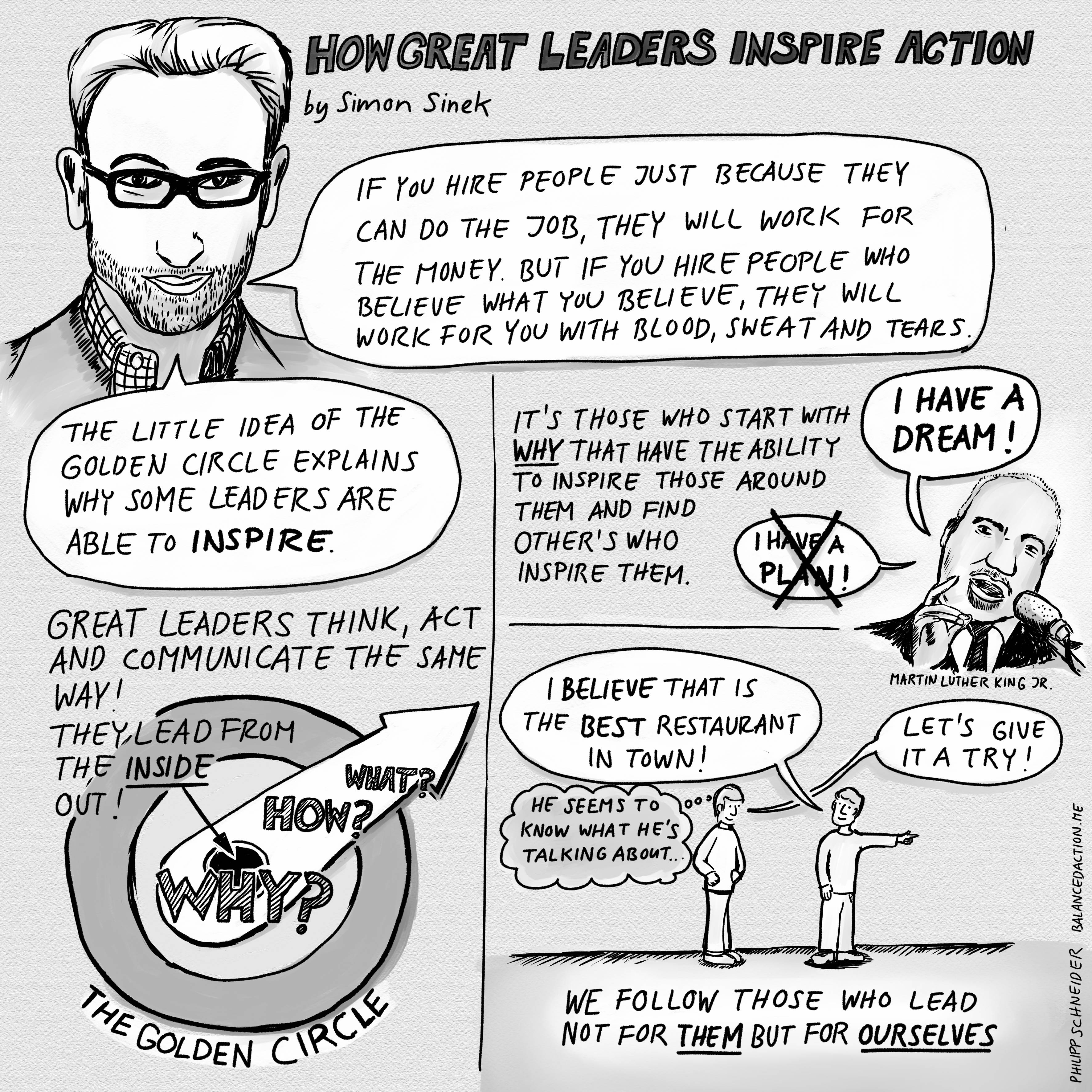 simon sinek how great leaders Simon sinek has a simple but powerful model for inspirational leadership -- starting with a golden circle and the question why his examples include apple, martin luther king, and the wright brothers .